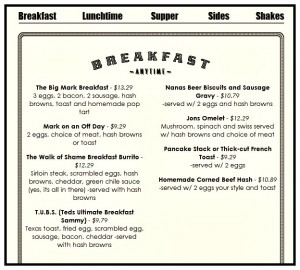 Reston Food Blog - Ted's Bulletin - Breakfast Menu