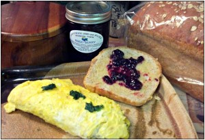 Reston Food Blog - Fresh Eggs & Spinach Omelette Wheat Toast & Mixed Berry Jam