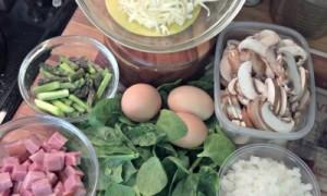 Reston Food Blog - Asparagus, Mushroom, Spinach and Ham Frittata