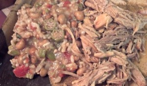 Reston Food Blog - Sunday Supper - Slow Cooked Cuban Pork and Okra, Peas, Tomatoes and Rice